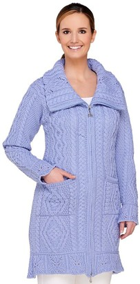 Aran Craft Merino Wool Butterfly Stitch Long Cardigan