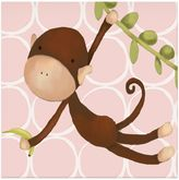 Oopsy Daisy Fine Art For Kids Hanging Monkey Canvas Wall Art in Pink