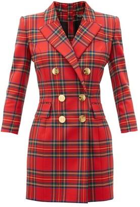 Balmain Double-breasted Wool-blend Tartan Mini Dress - Red Multi