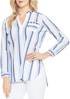 Vince Camuto Embroidered Sophomore Stripe Tunic