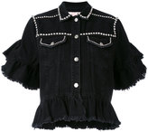 MSGM embellished ruffle denim jacket - women - Cotton - 38