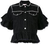 MSGM embellished ruffle denim jacket - women - Cotton - 40