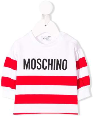 Moschino Kids striped logo tee