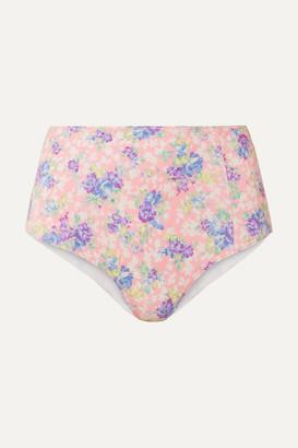 LoveShackFancy Mason Floral-print Bikini Briefs - Pink