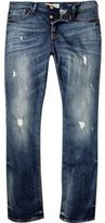 River Island MensDark blue wash ripped Dylan slim jeans