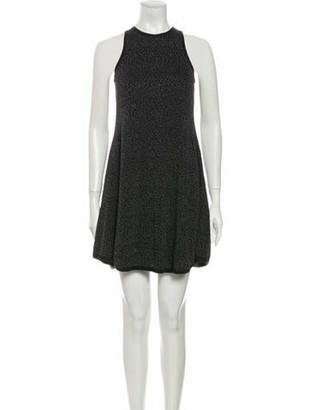 Saint Laurent Crew Neck Mini Dress Grey