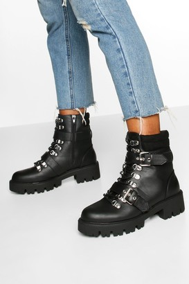 boohoo Buckle Detail Padded Cuff Hiker Boots