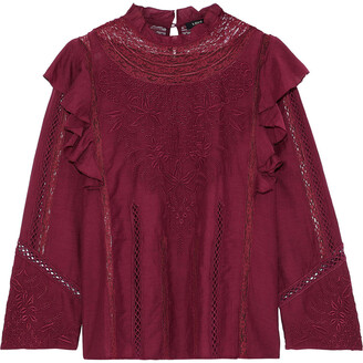 Love Sam Lace-trimmed Broderie Anglaise Cotton-blend Voile Blouse
