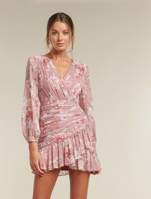Forever New Valentina Petite Pleated Mini Dress - Burnt Pink Sienna - 12