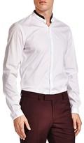 The Kooples Leather Collar Poplin Slim Fit Button-Down Shirt
