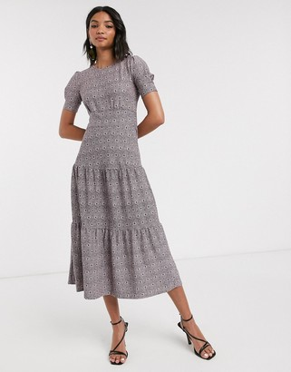 Topshop tiered midi dress in pink