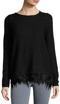 Design History Feather-Trim Waffle-Knit Sweater, Black