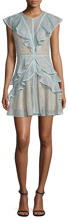 BCBGMAXAZRIA Ruffled Lace Dress