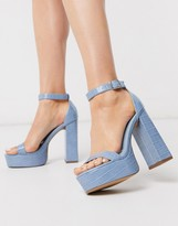 Design DESIGN Noon platform block heeled sandals in blue