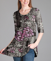 Lily Gray & Purple Floral Scoop Neck Tunic - Plus Too