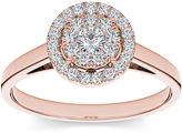 MODERN BRIDE 1/3 CT. T.W. Diamond 10K Rose Gold Round Cluster Engagement Ring