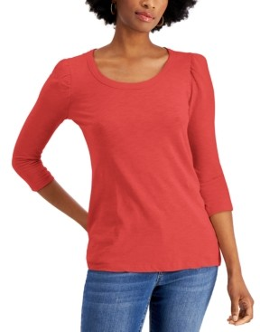 Style&Co. Style & Co Petite Cotton Puff-Sleeve Top, Created for Macy's