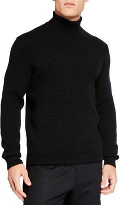 Ermenegildo Zegna Men's Cabled Cashmere Turtleneck Sweater