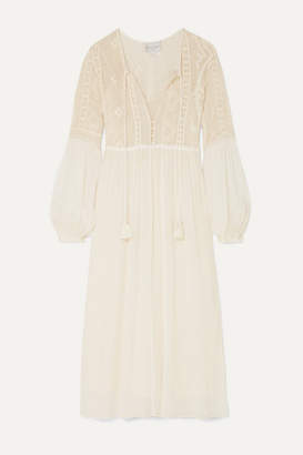 Forte Forte Crocheted Cotton And Silk-blend Crepon Midi Dress - Cream