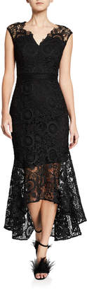 Shoshanna Regina Patterned Lace Cap-Sleeve High-Low Illusion Dress