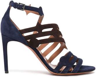 Alaia Cutout Two-tone Suede Sandals