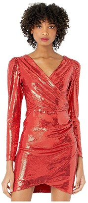 Nicole Miller Long Sleeve Surplice Dress (Red) Women's Clothing