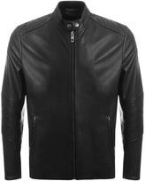 BOSS ORANGE Jeeper Leather Jacket Black