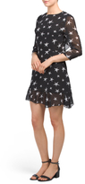 Three Quarter Sleeve Star Print Dress