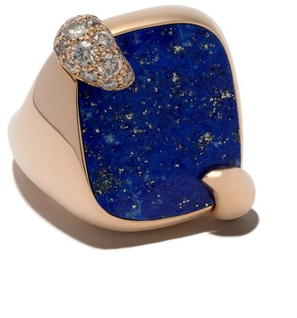Pomellato 18kt rose gold Ritratto lapis lazuli and brown diamond cocktail ring