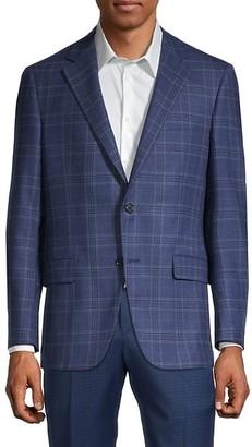 Hickey Freeman Standard Fit Plaid-Print Wool Suit Jacket