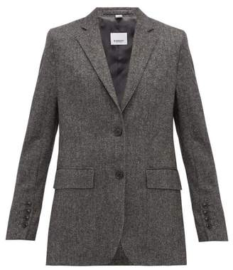 Burberry Sidon Single Breasted Wool Blend Blazer - Womens - Dark Grey