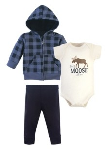 Hudson Baby Baby Boys and Girls 3 Piece Premium Quilted Hoodie, Bodysuit and Pant Set