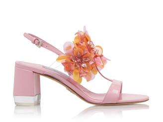 Prada Floral-Appliquéd Patent-Leather Sandals Size: 35