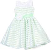 Green Stripe Flower-Sash Dress - Infant Toddler & Girls