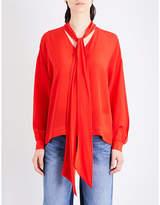 Mo&Co. Tie-neck silk-crepe blouse