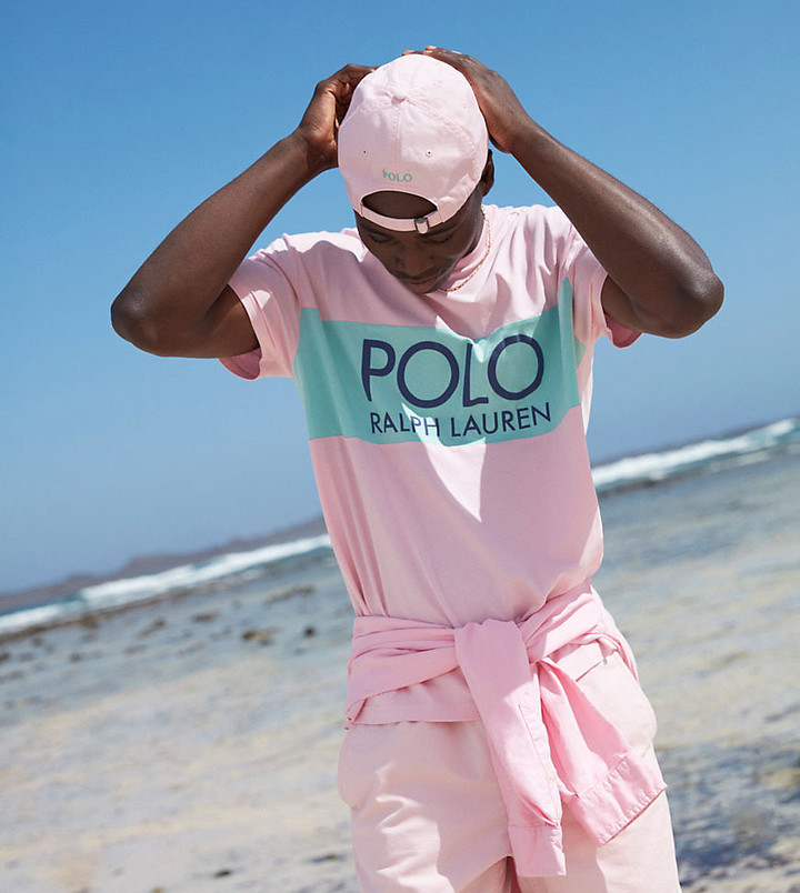 Polo Ralph Lauren x ASOS exclusive collab classic fit t-shirt in pink with navy logo panel