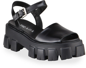 Prada Leather Lug-Sole Ankle-Strap Sandals
