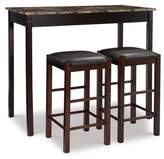 "Linon Tavern 42"" Wood Table & 2 Upholstered Backless Stools - Espresso Wood"