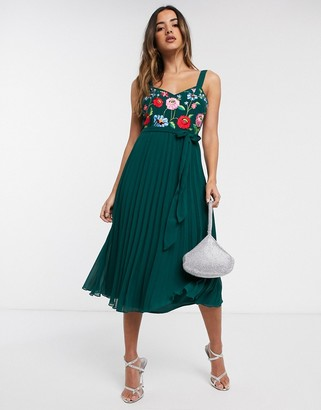 ASOS DESIGN embroidered pleated cami midi dress