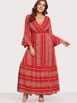 Shein Flounce Sleeve Ditsy Print Wrap Dress