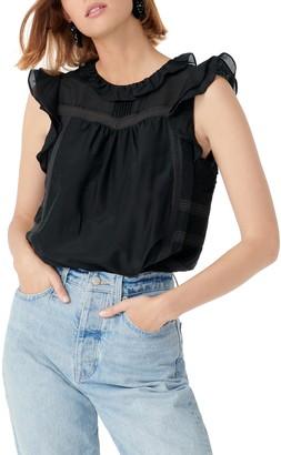 J.Crew Flutter Sleeve Cotton & Silk Voile Top