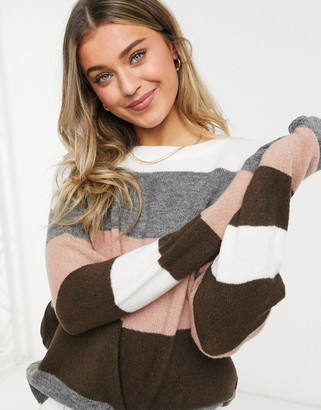 JDY Nora long sleeve cosy knitted jumper in stripe