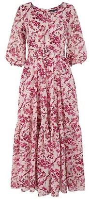 Samantha Sung Anna Forsitha-Print Puff-Sleeve Dress