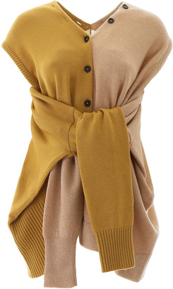 Marni BICOLOR KNIT WITH SELF-TIE SLEEVES 38 Beige, Yellow Wool