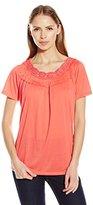 Fresh Women's Short Sleeve Crochet Neck Crinkle Jersey Top