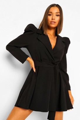 boohoo Ruched Sleeve Tailored Blazer Dress