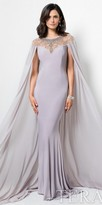 Terani Couture Illusion Rhinestone Embellished Cape Evening Dress