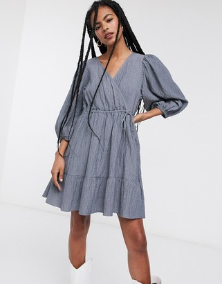 And other stories & shirred mini wrap dress in blue