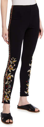 Johnny Was Salome Embroidered Leggings