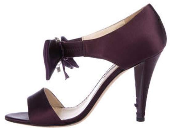 Oscar de la Renta Peep-Toe Satin Pumps Purple Peep-Toe Satin Pumps